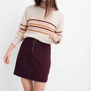 Madewell Wool Fireside Mini Skirt- Maroon